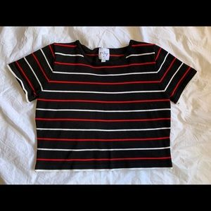 princess poly black & red striped cropped t-shirt